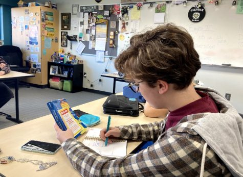 Senior Sophia Perticarini works in her CCP Composition class. Sophia, along with other seniors, struggles with missing important milestones after COVID-19. Photo by Gabriella Harris.